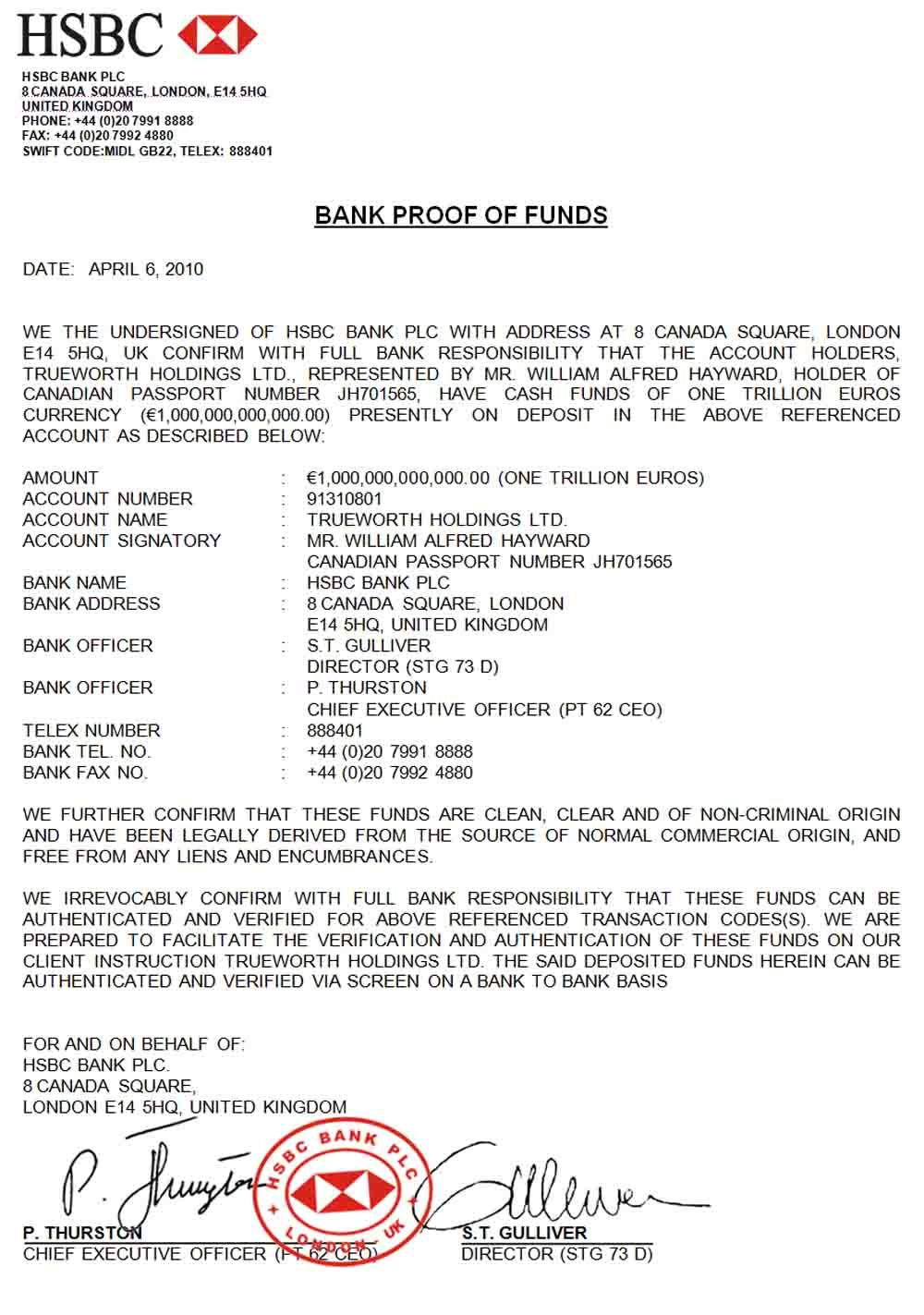 Proof Of Funds Letter Sample From Bank
