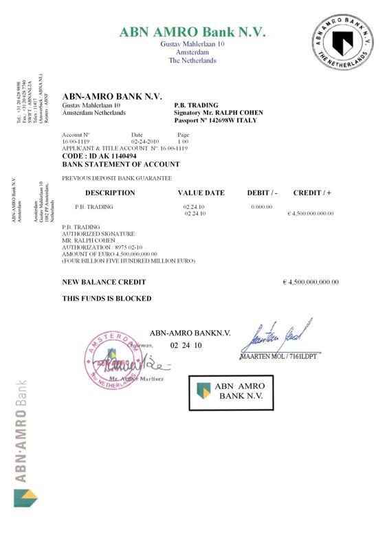 COHEN - ABN AMRO 4.5B POF
