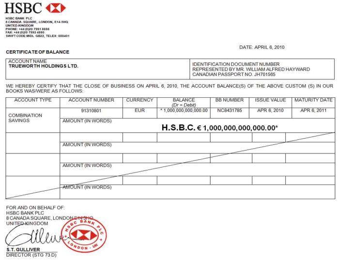 BILL HAYWARD (JOHANNES RIYADI) - HSBC-London 1T TEAR SHEET