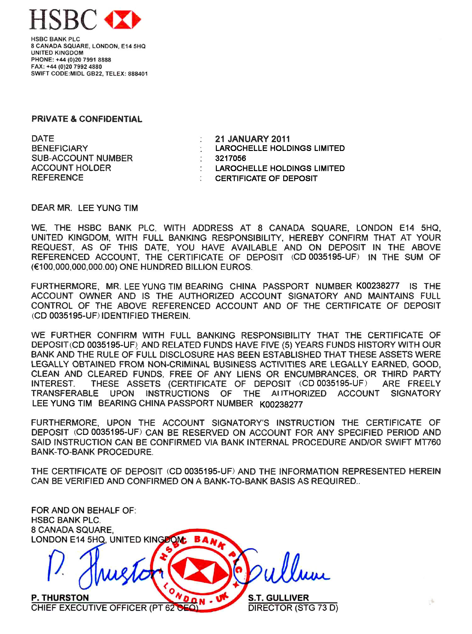 17 SAMPLE OF CONFIRMATION LETTER TO BANK CONFIRMATION